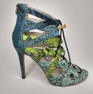Aldo Size 6 Genuine Leather Blue Green Heels